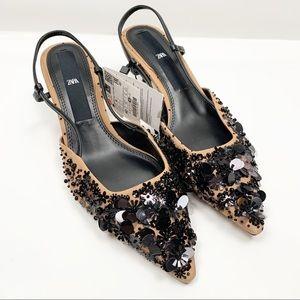 Zara Slingback Beaded Sequin Pointed Toe Heels 9